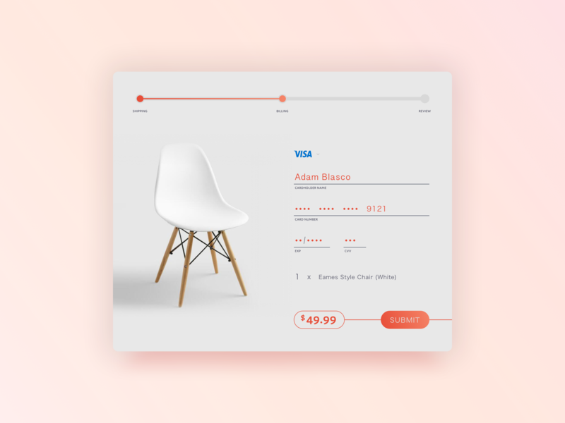 Daily UI 002 - CC Checkout (2.0) minimal lifestyle interior design payment checkout eames chair dailyui 002 ui dailyui