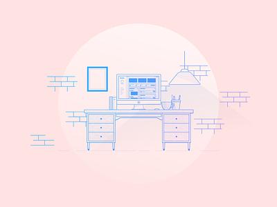 Help Desk Illustration pink gradient lamp coffee ui saas help desk monoweight illustration