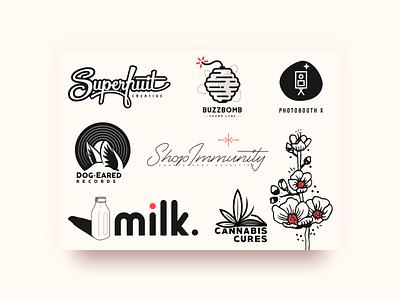 Logos & Marks logo design midcentury cannabis dog flower script minimal mark badge identity logo