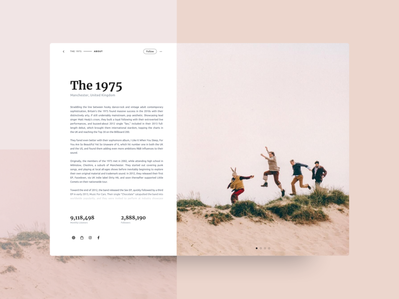 Daily UI 006 - Profile the 1975 band spotify gallery minimalist profile ui dailyui 006 dailyui