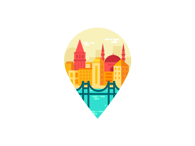 Pin Istanbul City mjölk building mosque sea bridge pin istanbul city turkey location illustration
