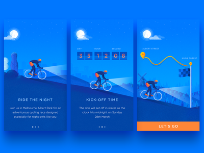 Bicycle Event Onboard bike onboarding app ios cycle ride road illustration walkthrough screen intro event bicycle