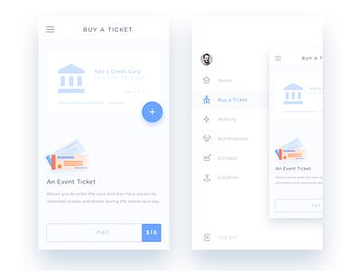 Buy a ticket & Side menu  ios app event side menu buy credit card pay ticket