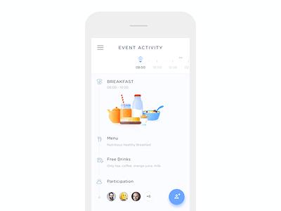 Event Activity Timeline app ios breakfast drink menu friends timeline activity event