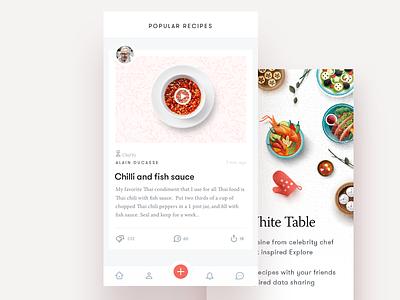 Recipe App tab bar social newsfeed app ui food onboard ios chef cooking recipe