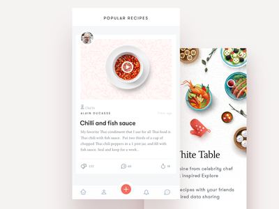 Recipe App tab bar social newsfeed app ui food onboard ios chef cooking recipe