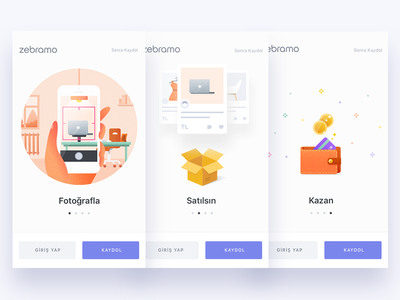 Onboarding Screens ux ui zebramo marketplace app shopping e-commerce onboarding