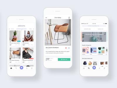 Zebramo Shopping ux ui tasarım design zebramo app home product detail shop c2c shopping