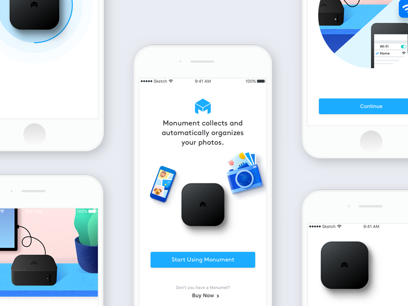 Monument V.2.0 ux ui illustration iot design onboarding album photo app pairing setup monument