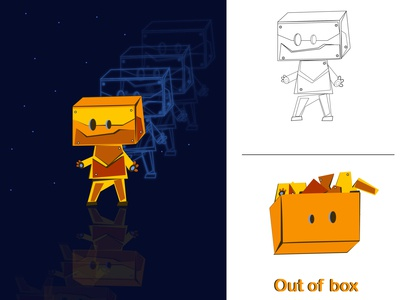 Out Of Box (Cartoon Character Illustration)