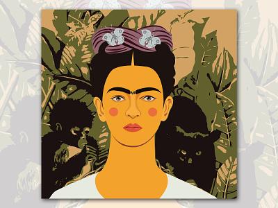 Frida Kahlo fridakahlo art digital illustration illustrator flat vector graphic design illustration