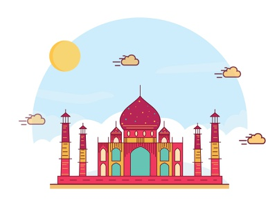 Taj Mahal vector illustration dribble colorful history color landingpage heritage india tajmahal vector ux ui illustration design artwork art illustrator flat graphic design digital illustration