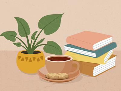 A cozy day with Tea, Plant and Books green plants books breakfast cozy sketch tea ui illustration art design artwork illustrator flat graphic design digital illustration comfort
