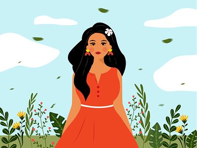 WINDY DAY vector girl character illustration design artwork illustrator flat art graphic design digital illustration