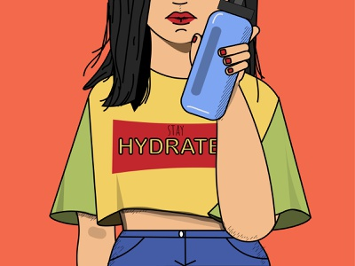 Ms. Hydra graphic stay hydrated hydrate summer camp summertime drink water girl vector adobe illustrator cc adobe illustrator illustrator illustration art illustration design