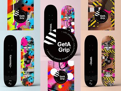 GetAGrip™ | Urban Skateboards art design typography illustration illustrator skatedeck deck logo photoshop collage skater skateboard mbsjq