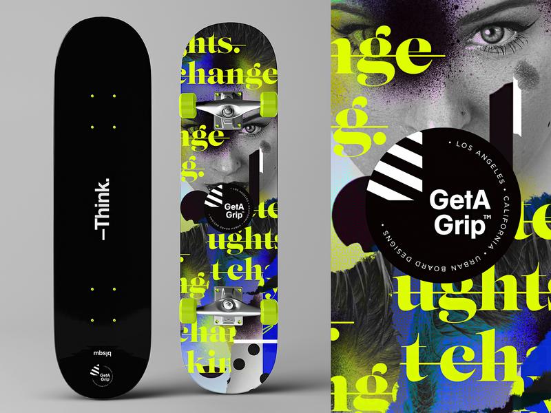 GetAGrip™ | Urban Skateboards | Think type logotype photoshop skateboard deck skater collage adobe photoshop logo adobe mbsjq