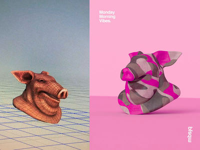 Monday Morning Vibes. octanerender helvetica behindthescenes tutorial animation cinema 4d motiondesign pink funny piggy houdini motion cinema4d