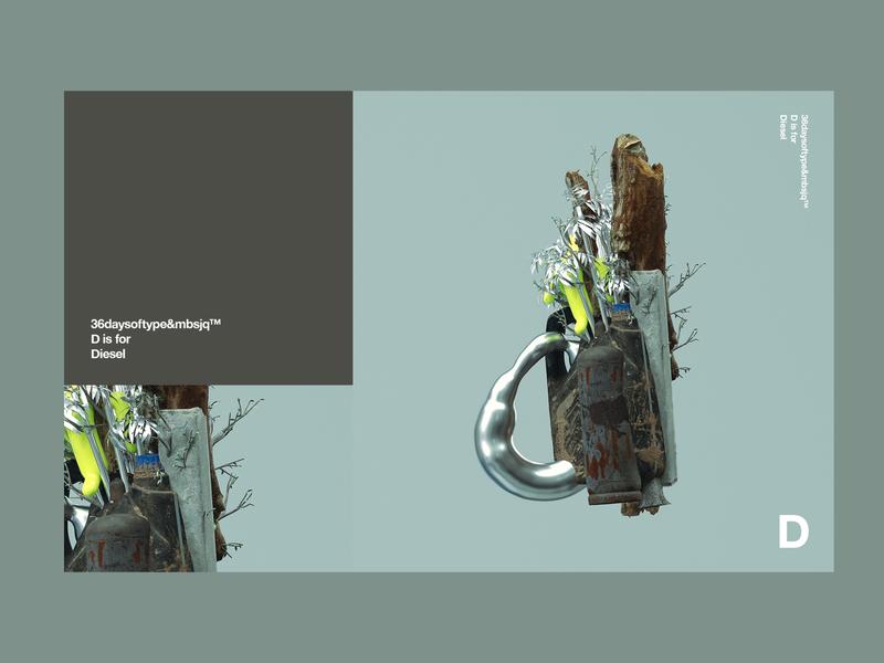 36daysoftype&mbsjq™   D is for Diesel web cinema4d c4d design redshift digital art digital diesel 36dayoftype 3d 36daysoftype07 36daysoftype