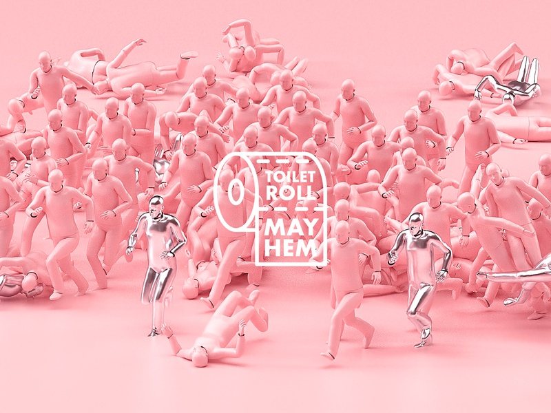 TOILET ROLL MAYHEM 🚽 houdini octane cinema4d 3d animation motiondesign motion branding logo coronavirus toiletroll toilet paper stupidity comedy panic mayhem