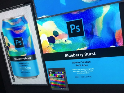 Adobe Creative Fruit Juice | Blueberry Burst illustration logo can mockup drink adobe creative suite juice can packaging design packagingdesign packaging adobe photoshop cc adobe photoshop adobe