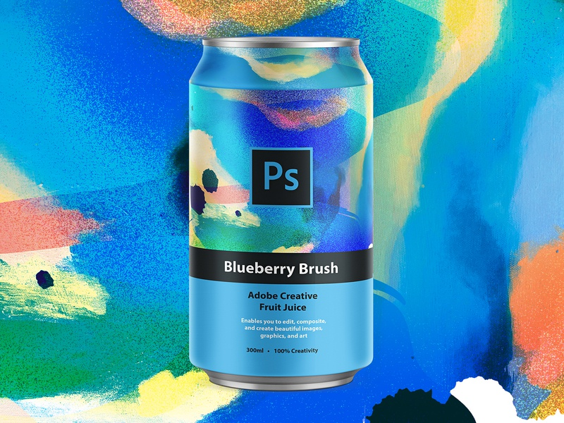 Blueberry Brush | Adobe Photoshop mbsjq photoshop type packagingdesign packagedesign art collage paint packaging can design can adobe photoshop adobe