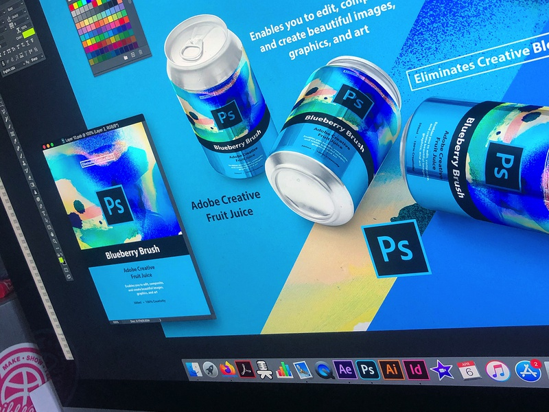 Blueberry Brush | Adobe Photoshop landing page uidesign ui can design collage mbsjq illsutration drink can packagedesign packaging web photoshop adobe photoshop adobe