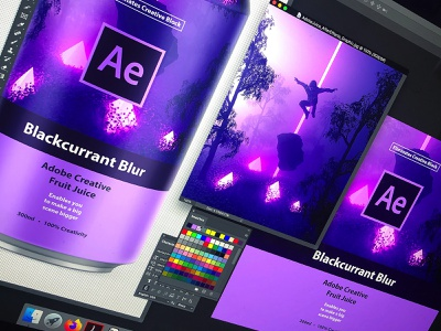 Adobe Creative Fruit Juice | Blackcurrant Blur can mockup branding logo packaging drink can design space aftereffects adobe aftereffects adobe