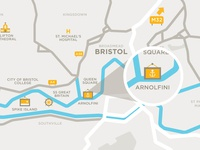 Bristol (UK) map illustration