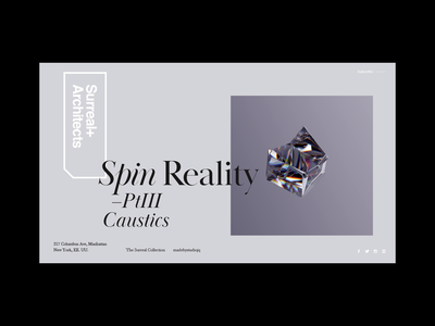 Surreal+Architects | Spin Reality. typogaphy 3d artist 3d art jewellery surrealism surreal landing page landingpage motion design motion ui web c4d octane redshift3d redshift caustics cinema4d