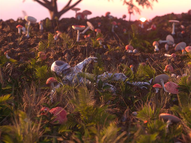 Mushrooms 1. Astro 0. cinema 4d 3d artist 3d scifiart space realism music astronaut scifi octane cinema4d