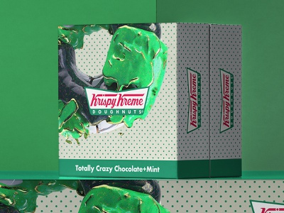 Totally Crazy Chocolate+Mint 🍩 doughnut krispy kreme mint chocolate food surreal octane c4d cinema 4d cinema4d 3d art 3d concept packagedesign packaging donuts
