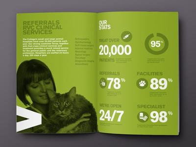RVC Clinical services brochure (Pitch) infographics infog raphics infographic info graphic green brochure layout stats print