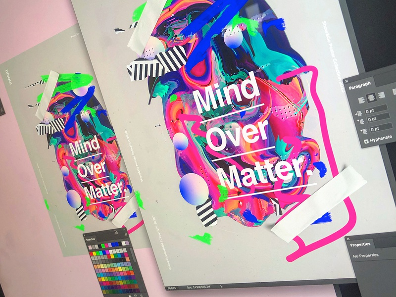 Show&Go2020™ | 123 | Mind Over Matter art design illustration typography type poster a day gradient color layer unique mbsjq adobe photoshop poster art poster