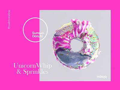 Surreal+Donuts unicorn 3d artist digital art illustration design type surreal redshift cinema4d doughnut donut 3d illustration 3d art