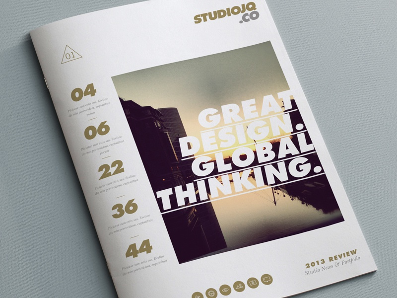Concept 1 (Cover Portfolio) bristol studio gold clean layout portfolio brochure typography editorial