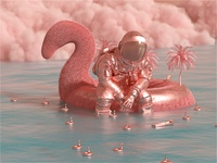 Astro & The Universe | Happiness Waits. fantasy fantasyart design poster color illustration paradise octanerender film cinema4d octane space astronaut 3d art 3d art