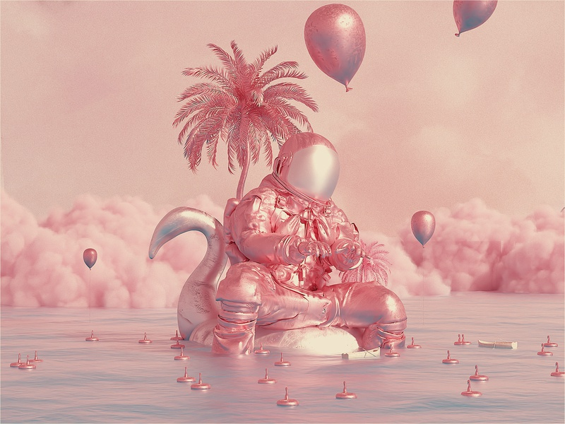 Astro & The Universe | Story Time. pink cinema4d octane scifi space astro surreal fantasy