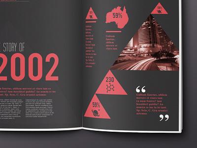 Scientific magazine spread // Concept london magazine infographic info graphic infographics info graphics red science map brochure typography triangle