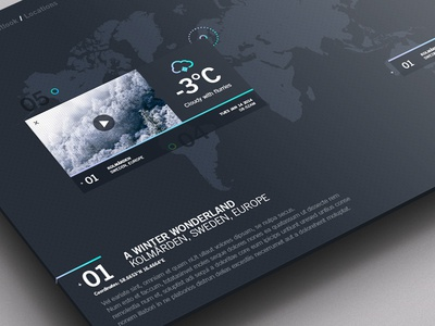 Weather Dashboard / Global Outlook / Locations 2 app photoshop flat weather dashboard map pattern weather dashboard ui clean gradient portal