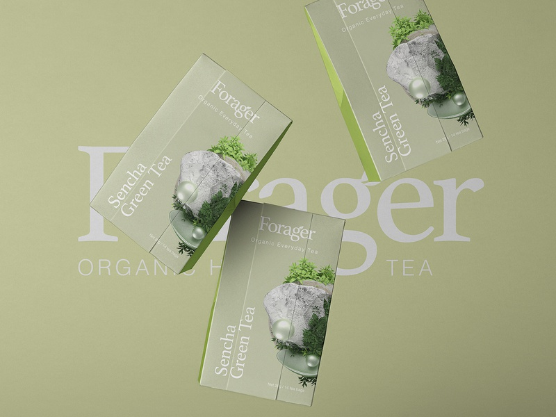 Forager l Organic Everyday Tea tpye layout health octane cinema4d adobe packaging design packaging branding logo design logo art tea