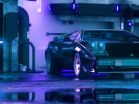 Midnight Club poster color album art purple lamborghini c4dart cyberpunk retro c4d cinema4d octanerender octane