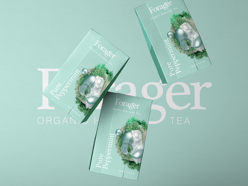 Forager l Organic Everyday Tea peppermint tea packaging adobe 3d art branding 3d octane logo mark logo type tea