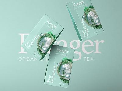 Forager l Organic Everyday Tea peppermint tea packaging adobe 3d art branding 3d octane logo mark logo type tea