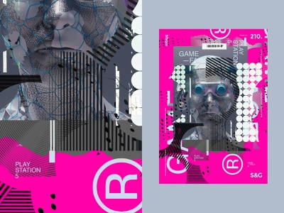 GameFace. mbsjq collage 3d illustration typography gaming gamer sony playstation5 poster a day poster ps5