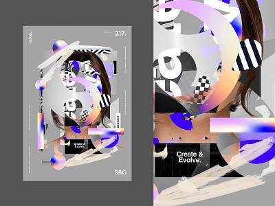 Create & Evolve. branding texture art illustration design type typography poster design mbsjq gradient adobe poster art poster