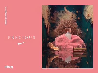 Precious logo art type illustration surreal branding pink logo interior interactive pink 3d web fantasy nikeairmax nike c4d cinem4d