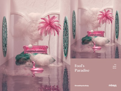 Fool's Paradise c4dart 3d art flamingo mbsjq cryptoart surreal cinema 4d cinema4d c4d 3d