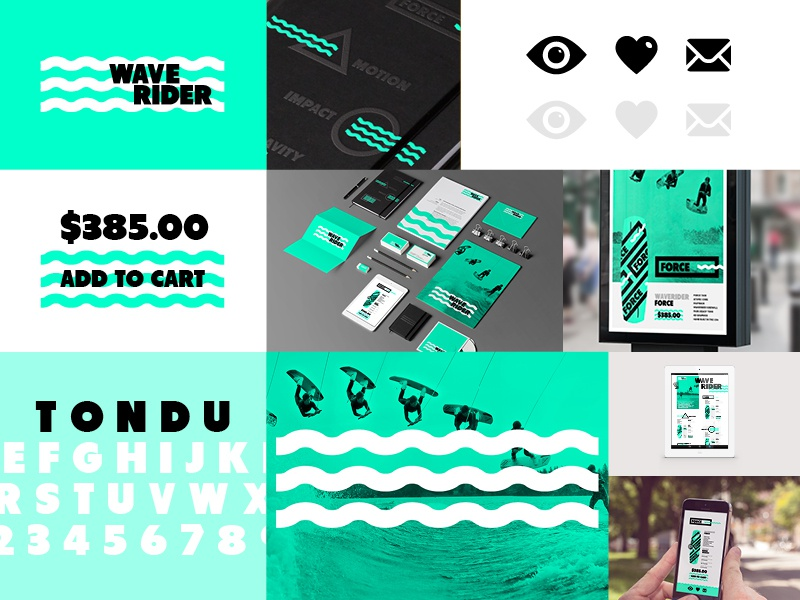 WAVERIDER // Branding Deck water sea black branding green shape identity logo