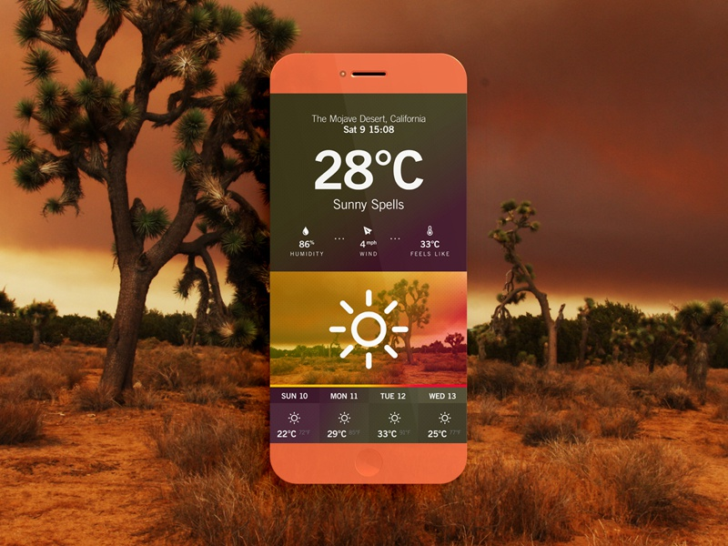 Weather App // Desert ui ux iphone weather app icon iso colors flat interface dashboard photoshop